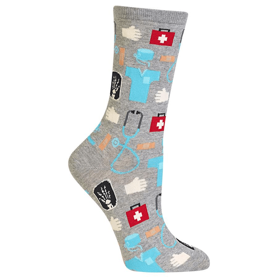 Medical Socks Women's Crew Sock Grey