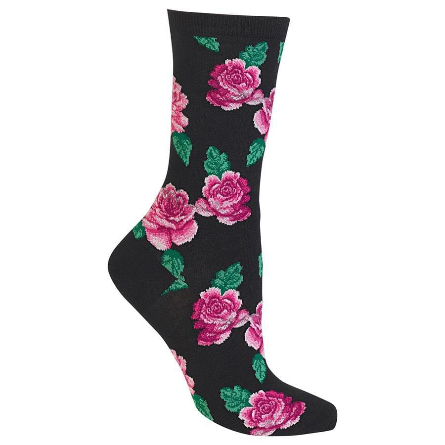 Rose Socks  Women's Crew Sock black