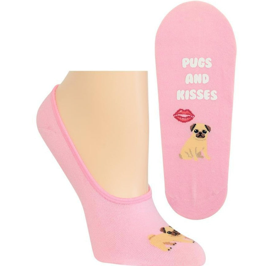 Pugs and Kisses Women's No Show Sock pink