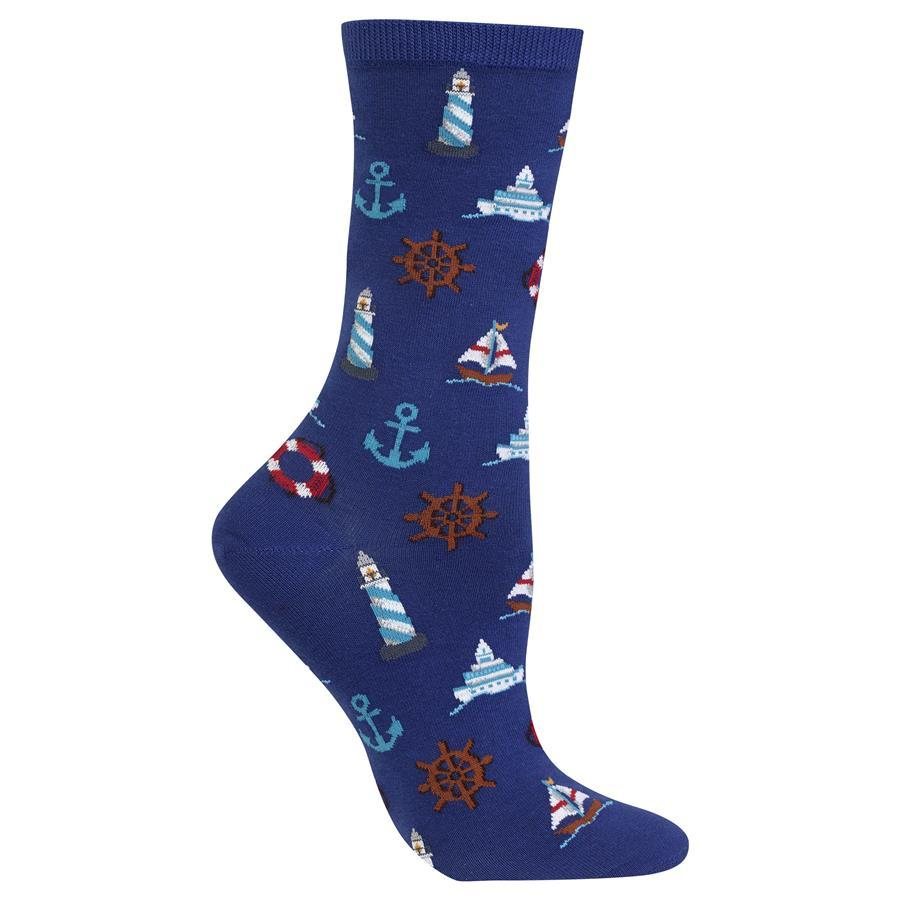 Nautical Icons Socks Blue Crew Socks For Women
