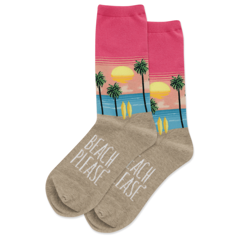 Beach Please Women's Crew Sock Pink