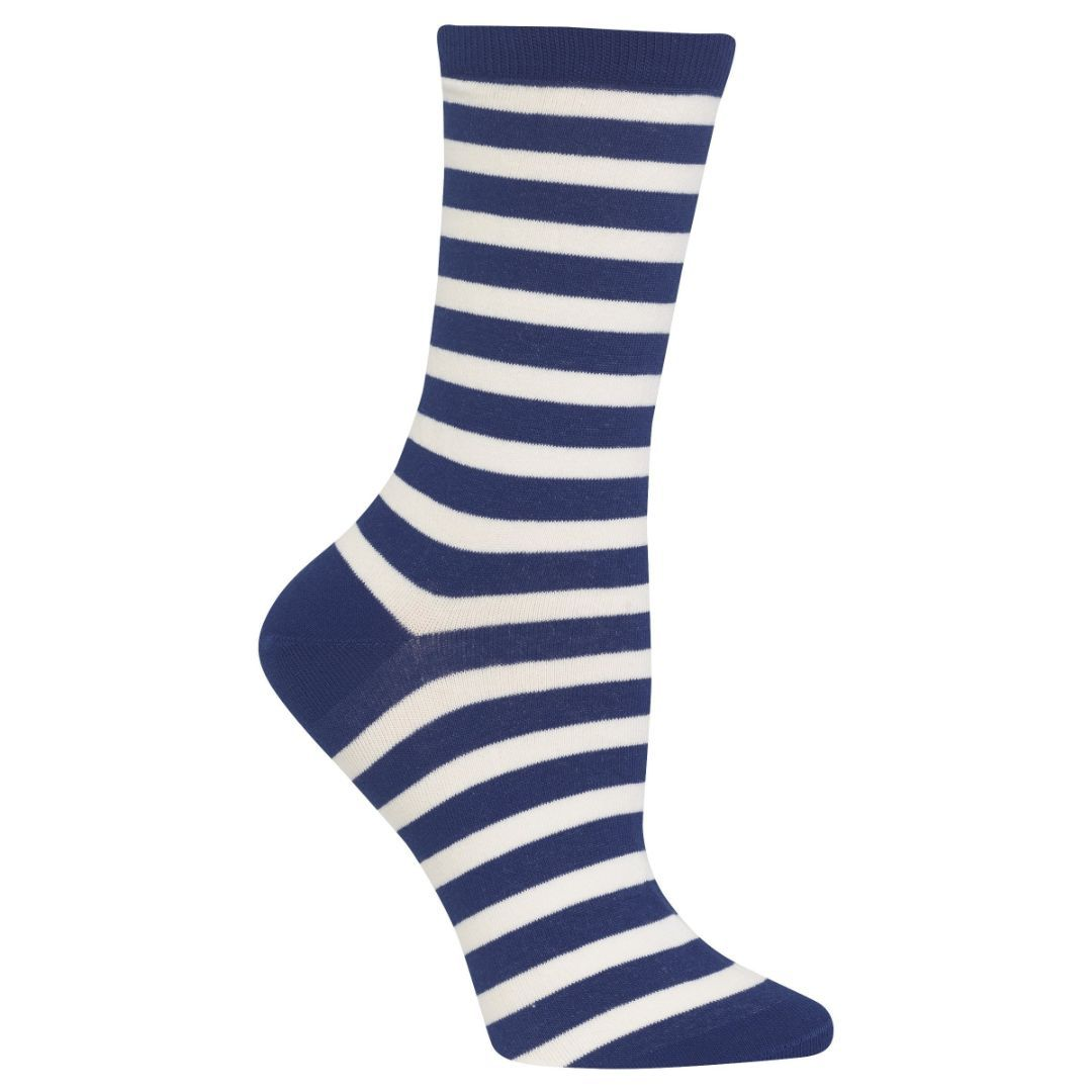 8ac0cc9050c Blue and White Stripe Socks Women s Crew Sock