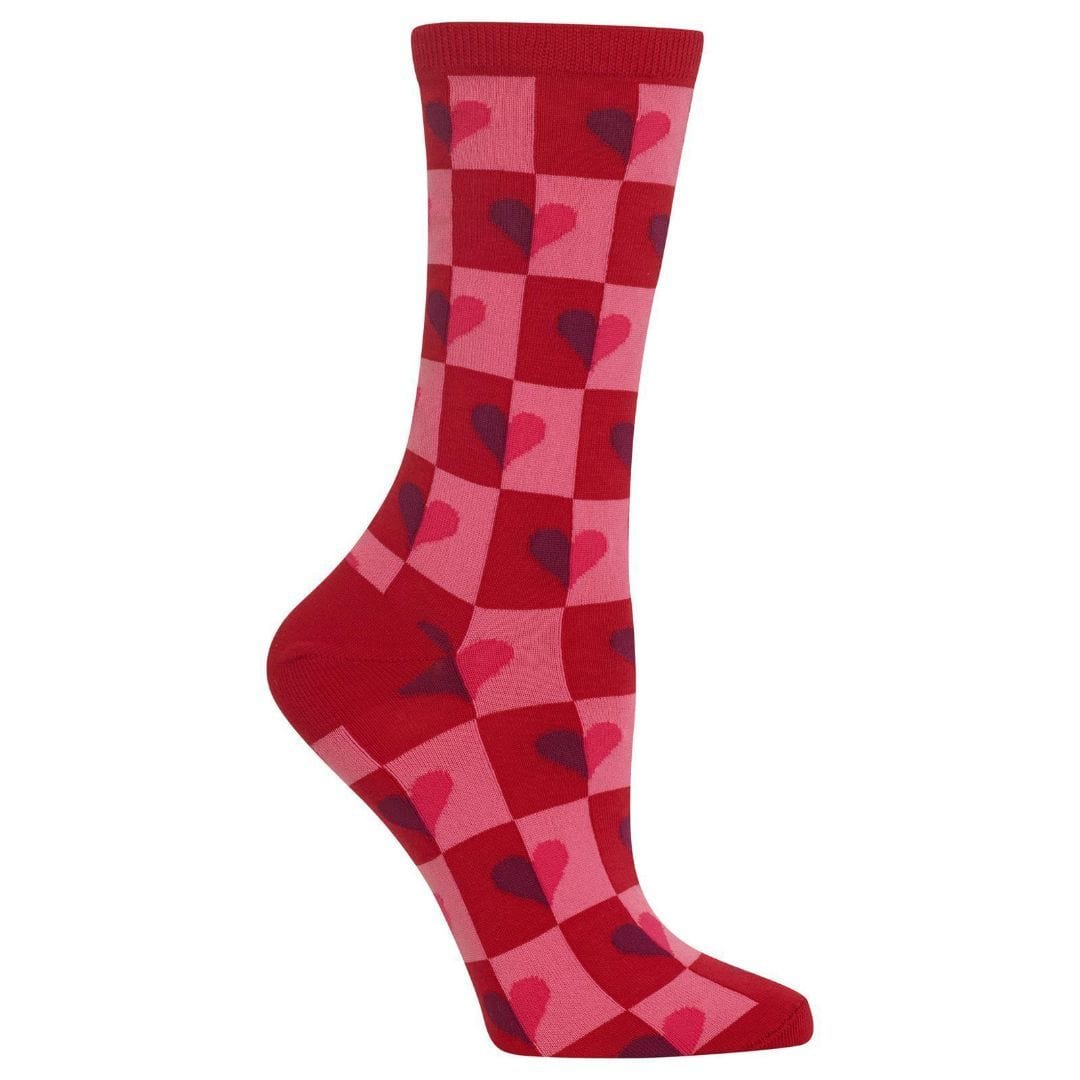 Half Hearts Socks Women's Crew Sock Red