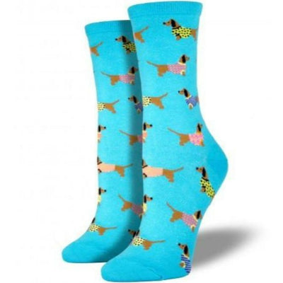 Haute Dog Socks Women's Crew Sock Blue