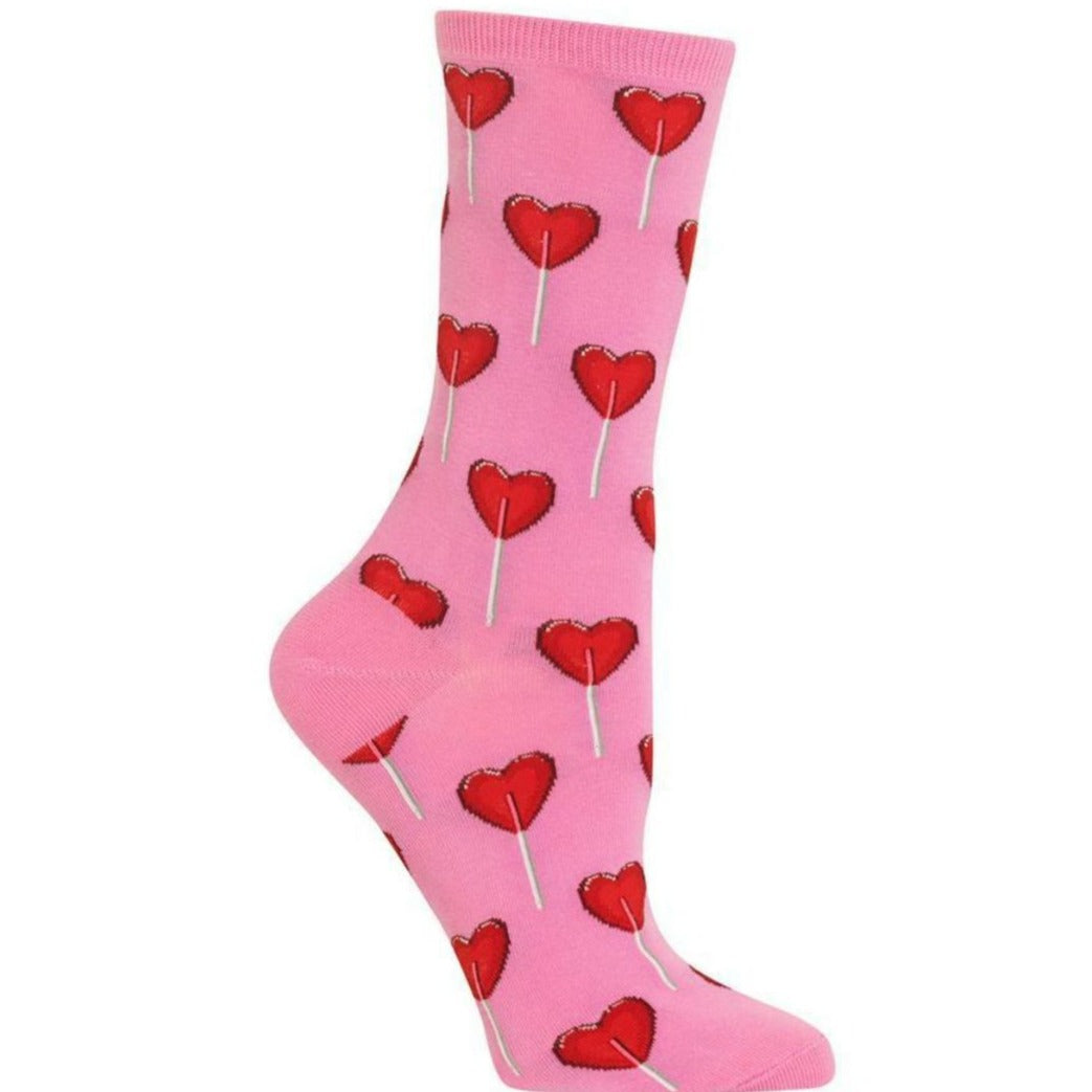 Heart Lollipop Socks Women's Crew Sock Pink