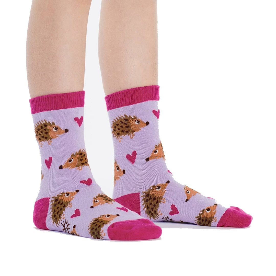 Hedgehog Heaven Junior Crew Socks Purple
