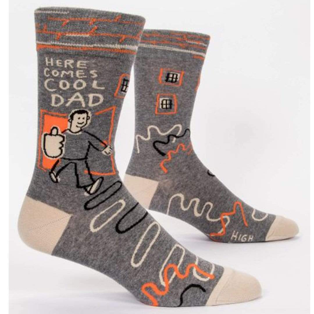 Here Comes a Cool Dad Socks Men's Crew Sock Grey