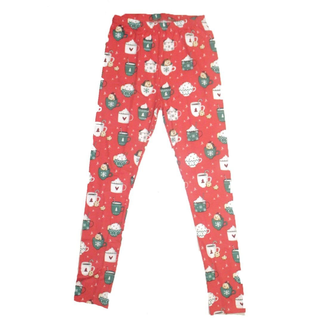 Holiday Cocoa & Hedgehog Leggings Small / Red