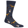 Multi Dog Socks - Men's Crew- DkBlue