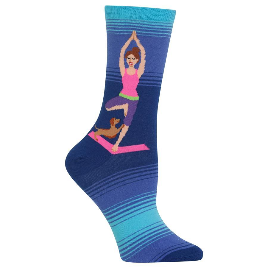Yoga Girl Socks Women's Crew Sock Blue