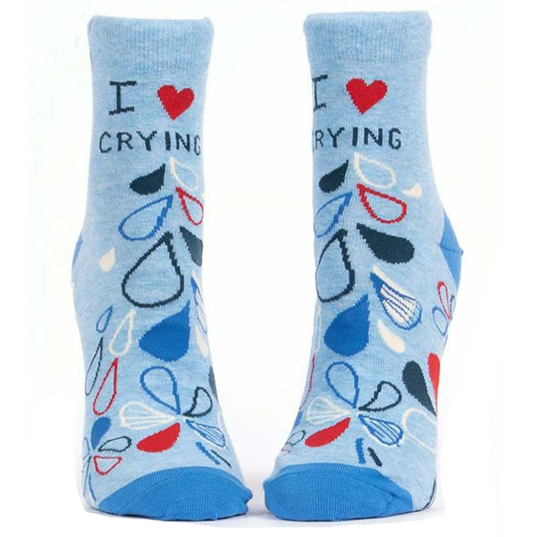 I Love Crying Women's Ankle Sock Blue