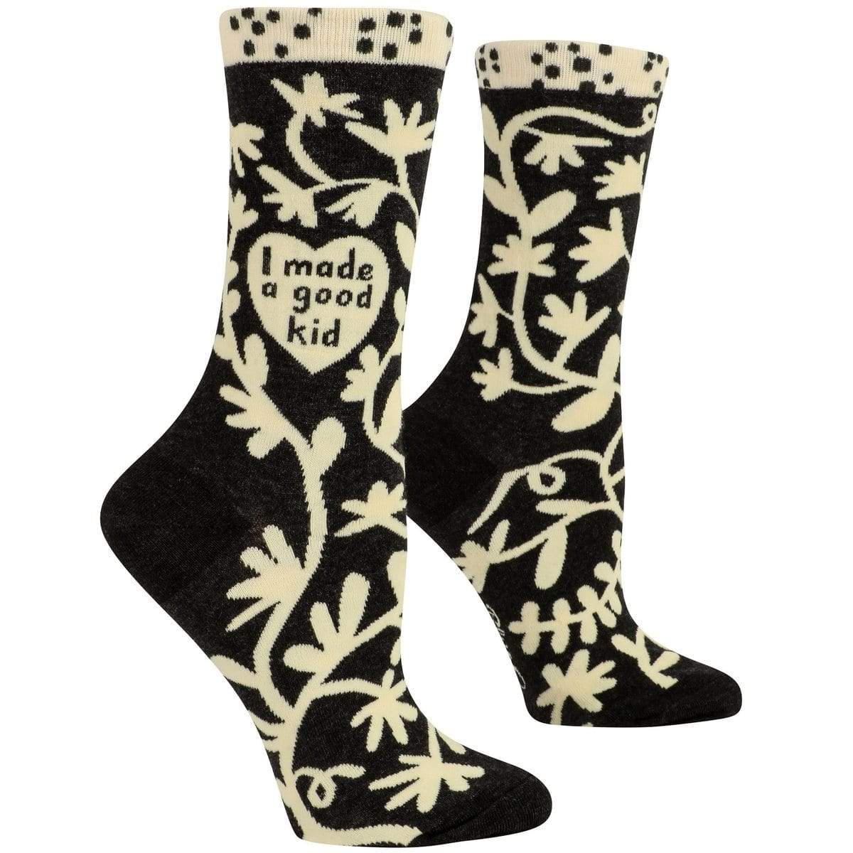 I Made A Good Kid Women's Crew Sock Black