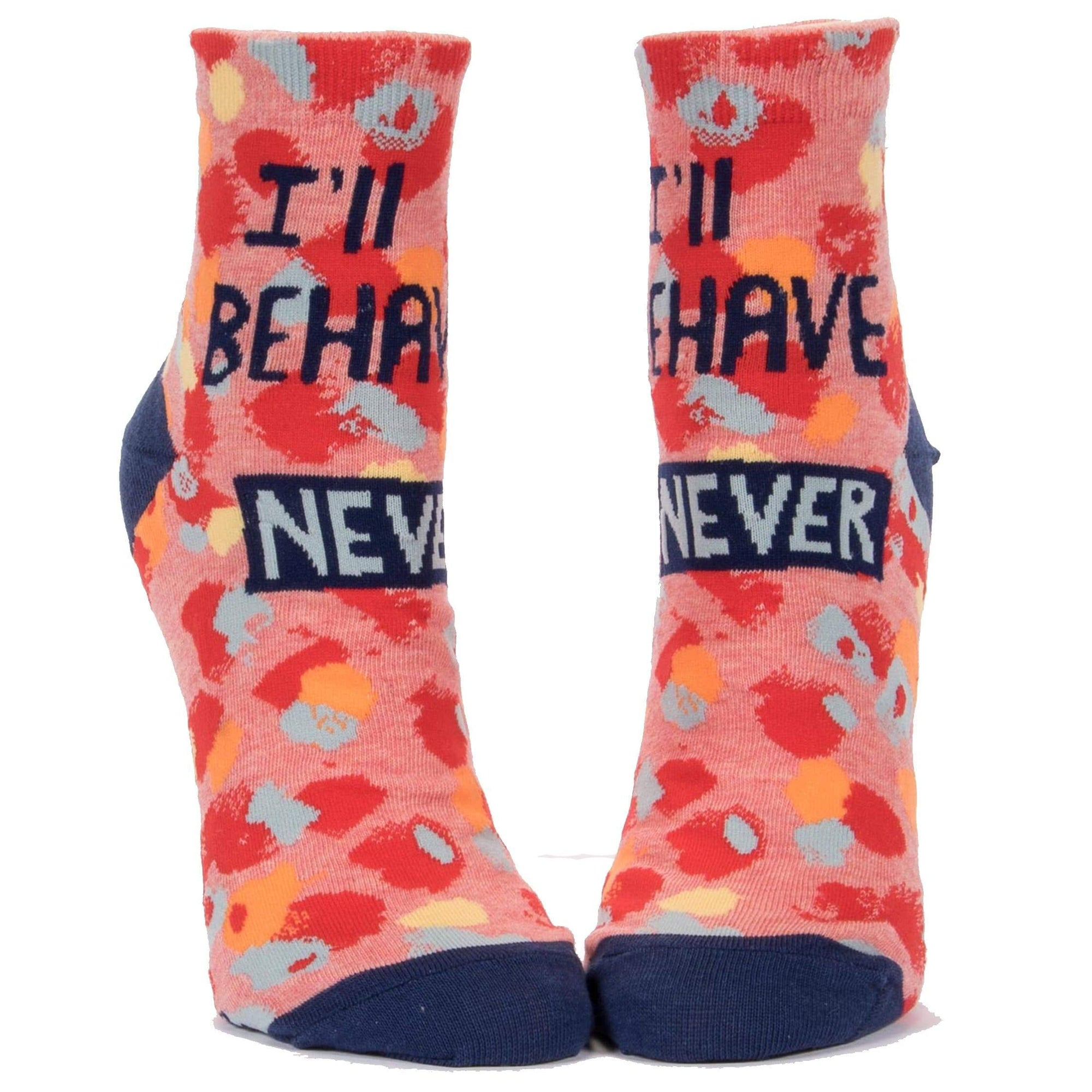 I'll Behave Never  Women's Ankle Sock pink