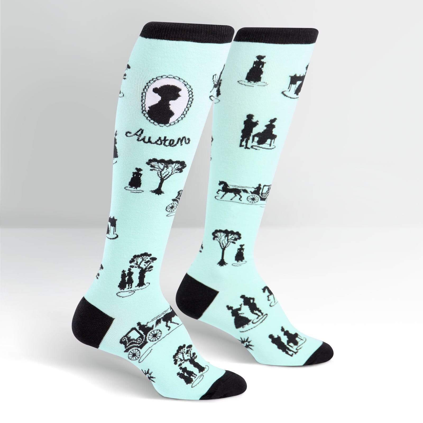 Jane Austen Socks Women's Knee High Sock Teal