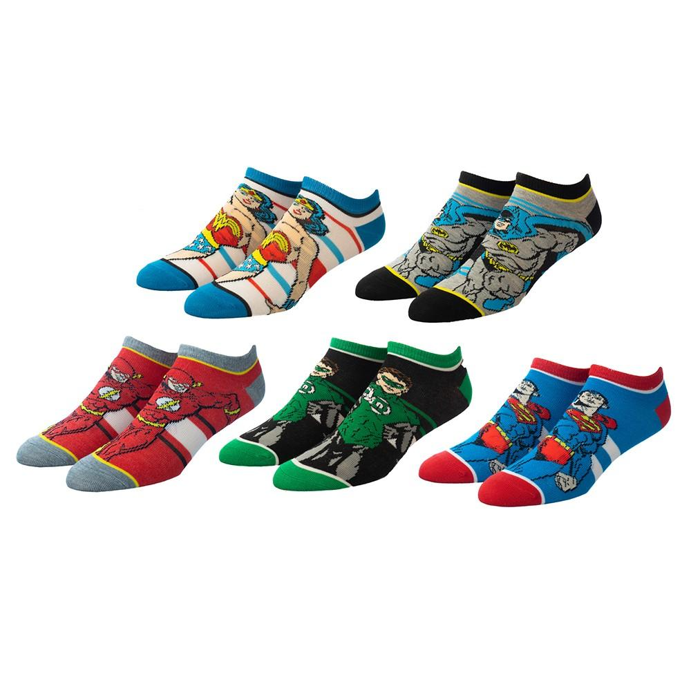 Justice League 5 Pair Ankle Socks Multi
