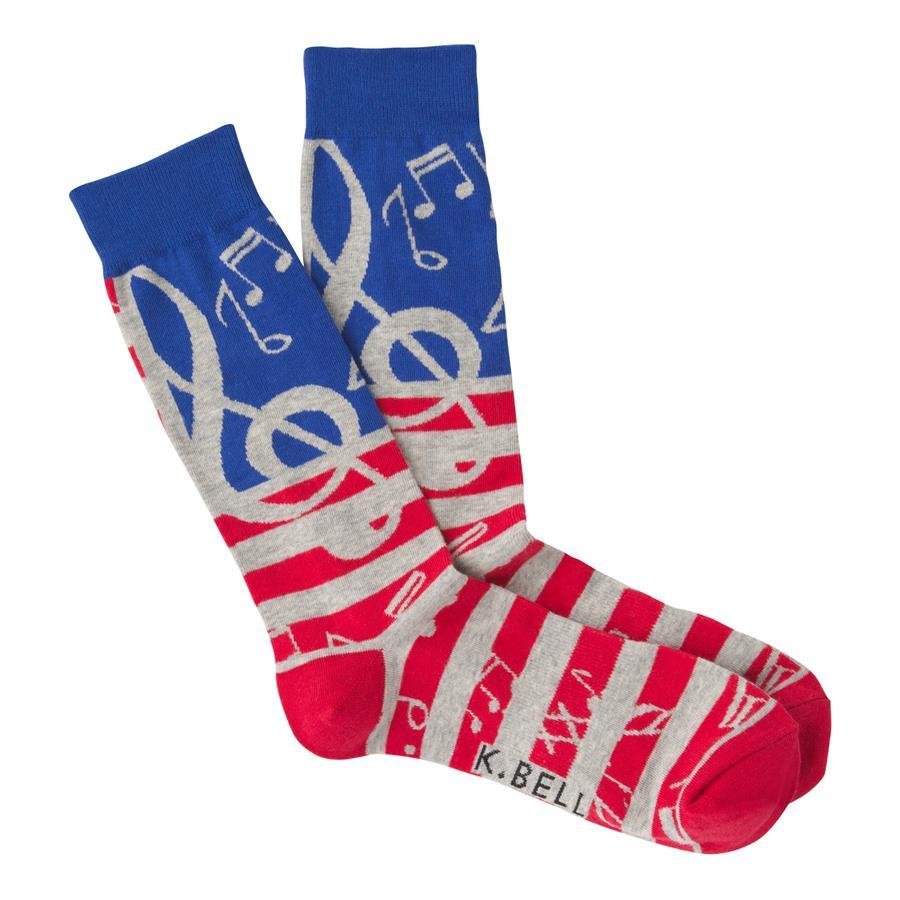 USA Music Men's Crew Socks Red / Blue