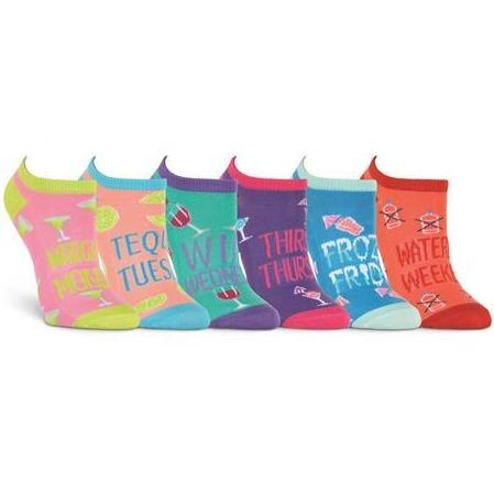 Women's Happy Hour No Show Socks Six Pair Pack Pink