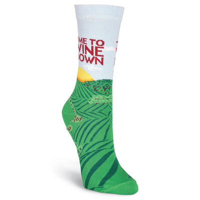 Wine Down Socks -- Crew Socks for Women