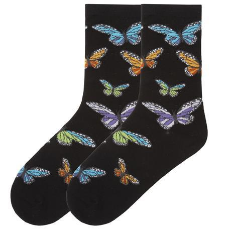 Colorful Butterflies Socks  Women's Crew Sock Black