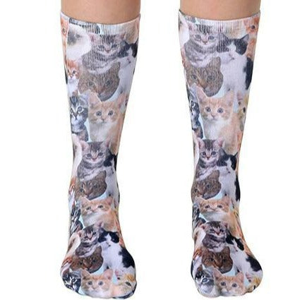 Kitty All Over Socks Unisex Crew Sock Brown