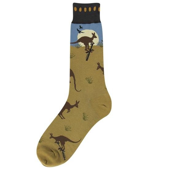 Kangaroo Socks Men's Crew Sock Brown