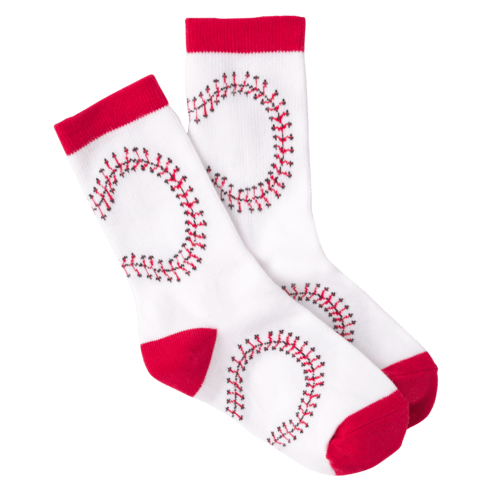 Kid's Baseball Crew Socks White
