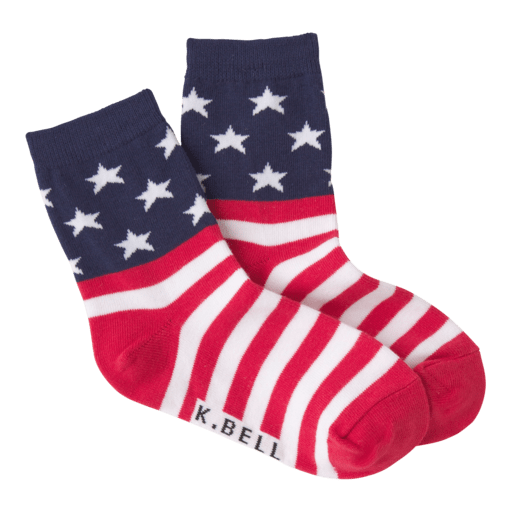 Kid's Stars and Stripes Crew Sock Red White and Blue