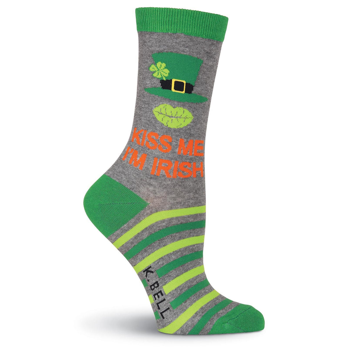 Kiss Me I'm Irish Socks -Women's Crew Sock Grey