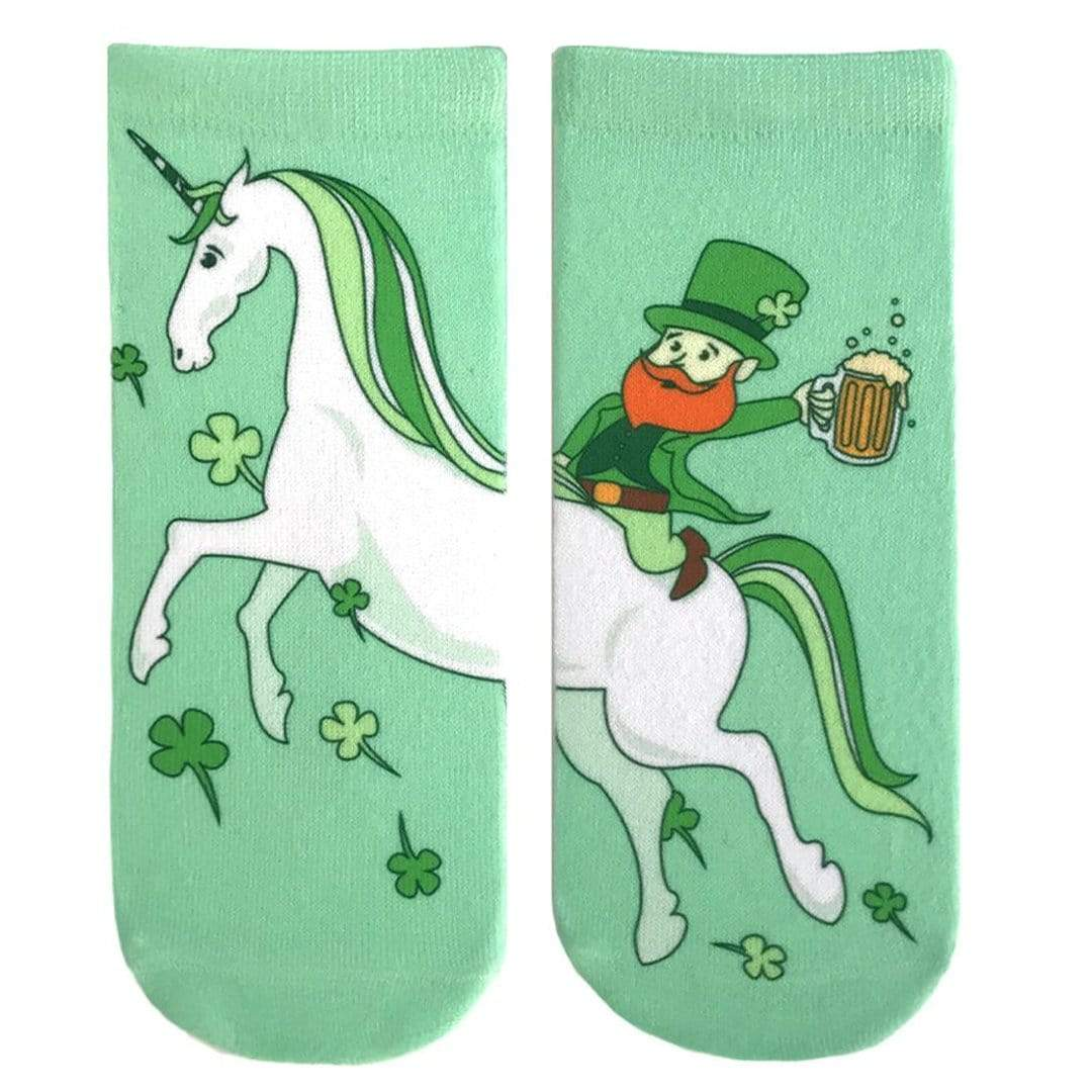 Leprechaun Unicorn Ankle Sock Green