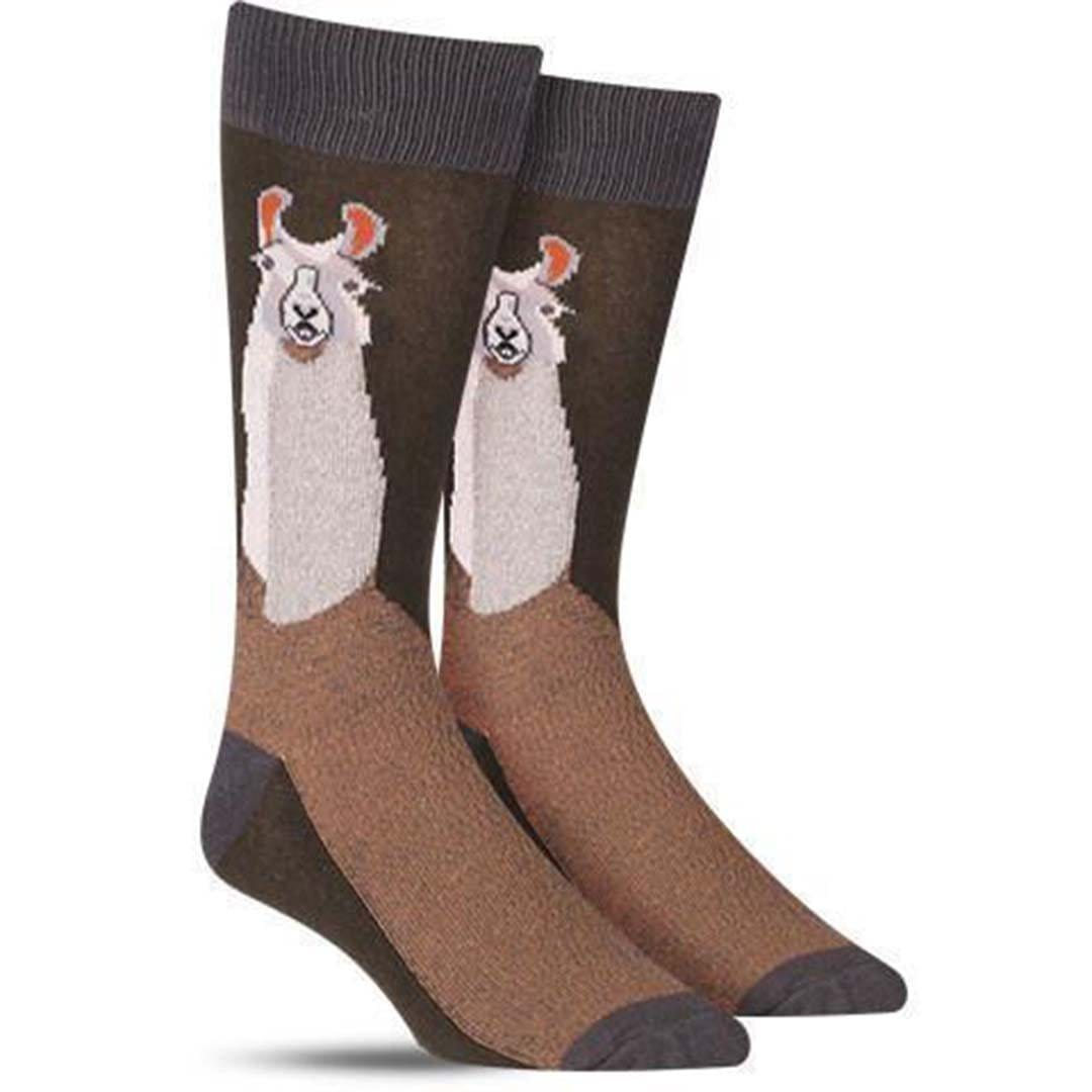 LLama Socks Men's Crew Sock brown