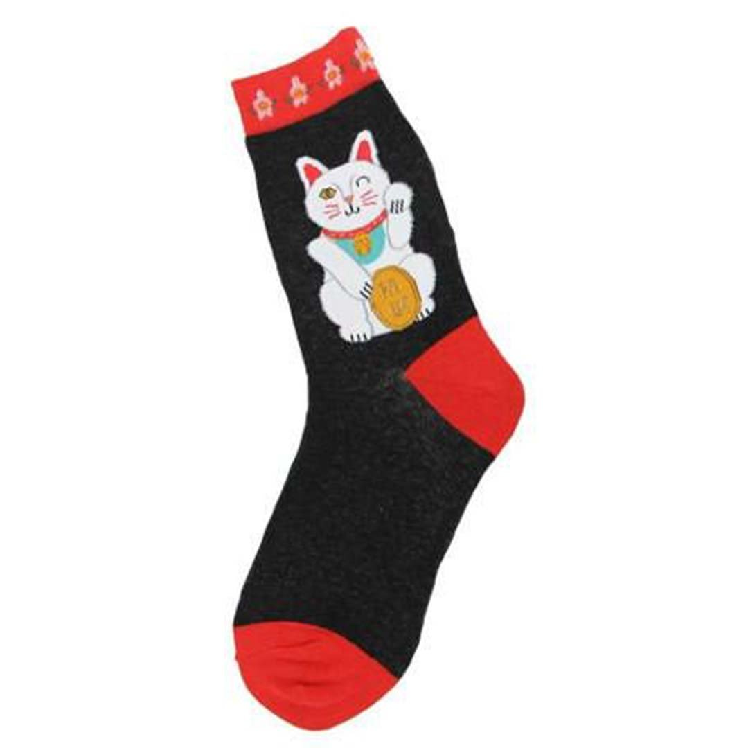 LUCKY CAT SOCKS - CREW SOCKS FOR WOMEN