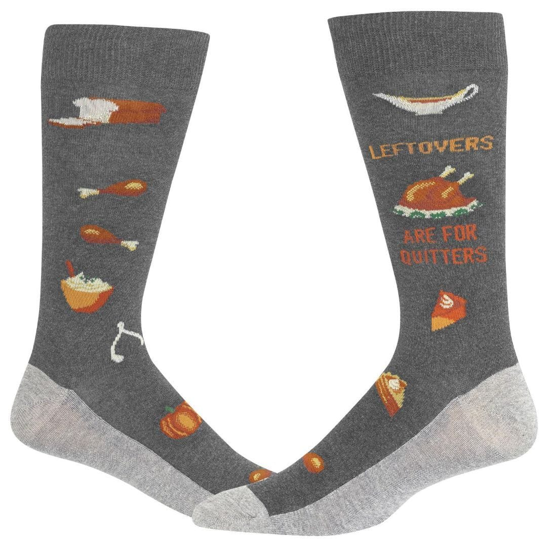Leftovers are for Quitters Socks Men's Crew Sock Charcoal Grey
