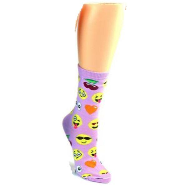 Emoji Socks Women's Crew Socks Lilac with emojis