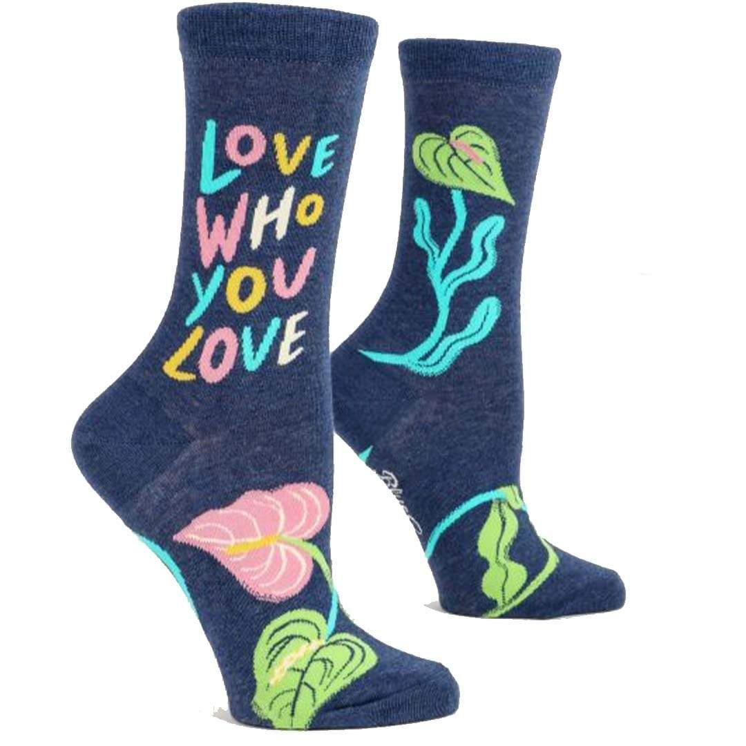 Love Who You Love Crew Socks Womens / Blue