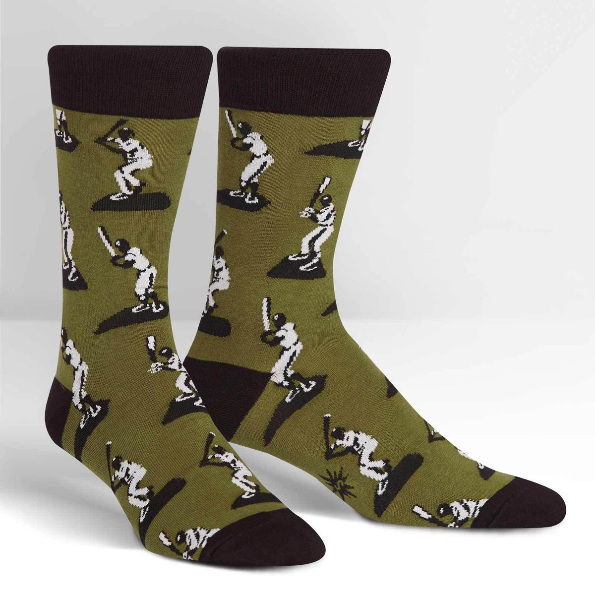 Batter Up Baseball Socks Men's Crew Sock green