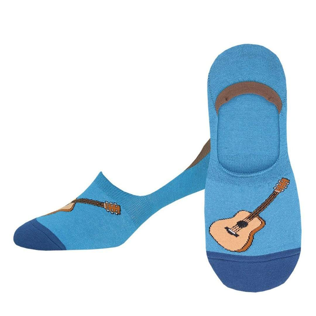 Acoustic Guitar Socks Men's Liner Sock Blue