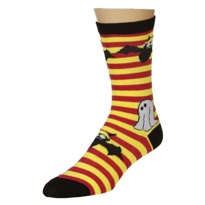 Ghost and Bat Socks  - Red Yellow