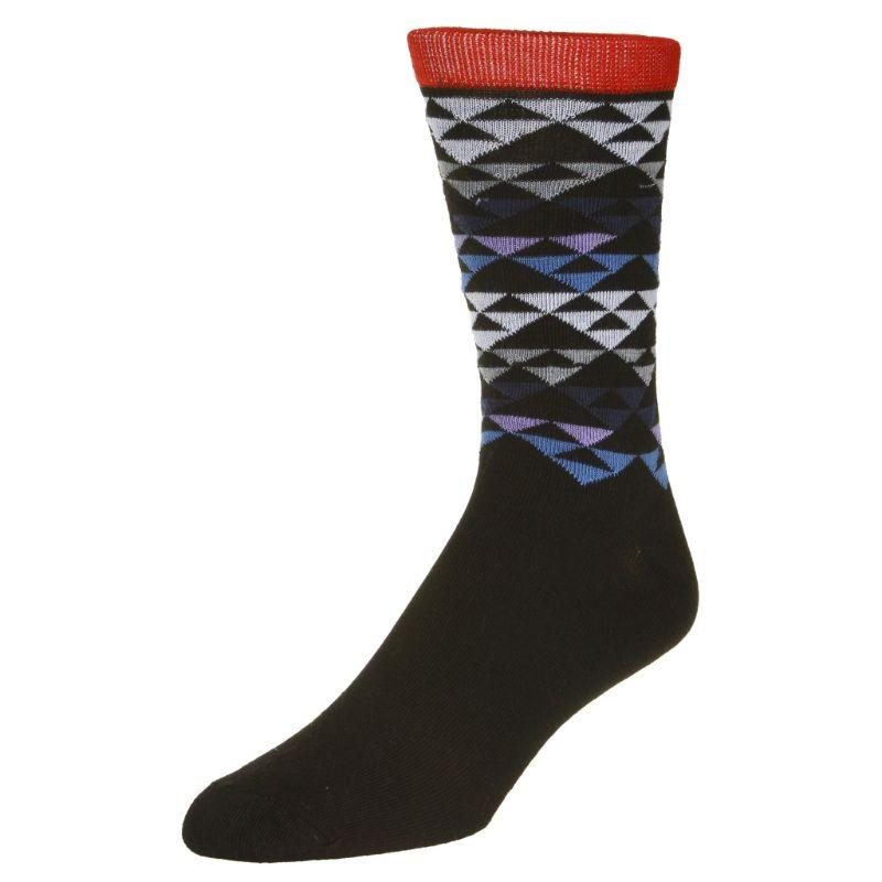 Casual Pyramid Print Socks Men's Dress Sock Black with red trim