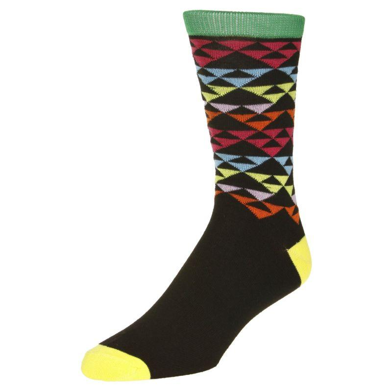 Casual Pyramid Print Socks Men's Dress Sock Black with green trim