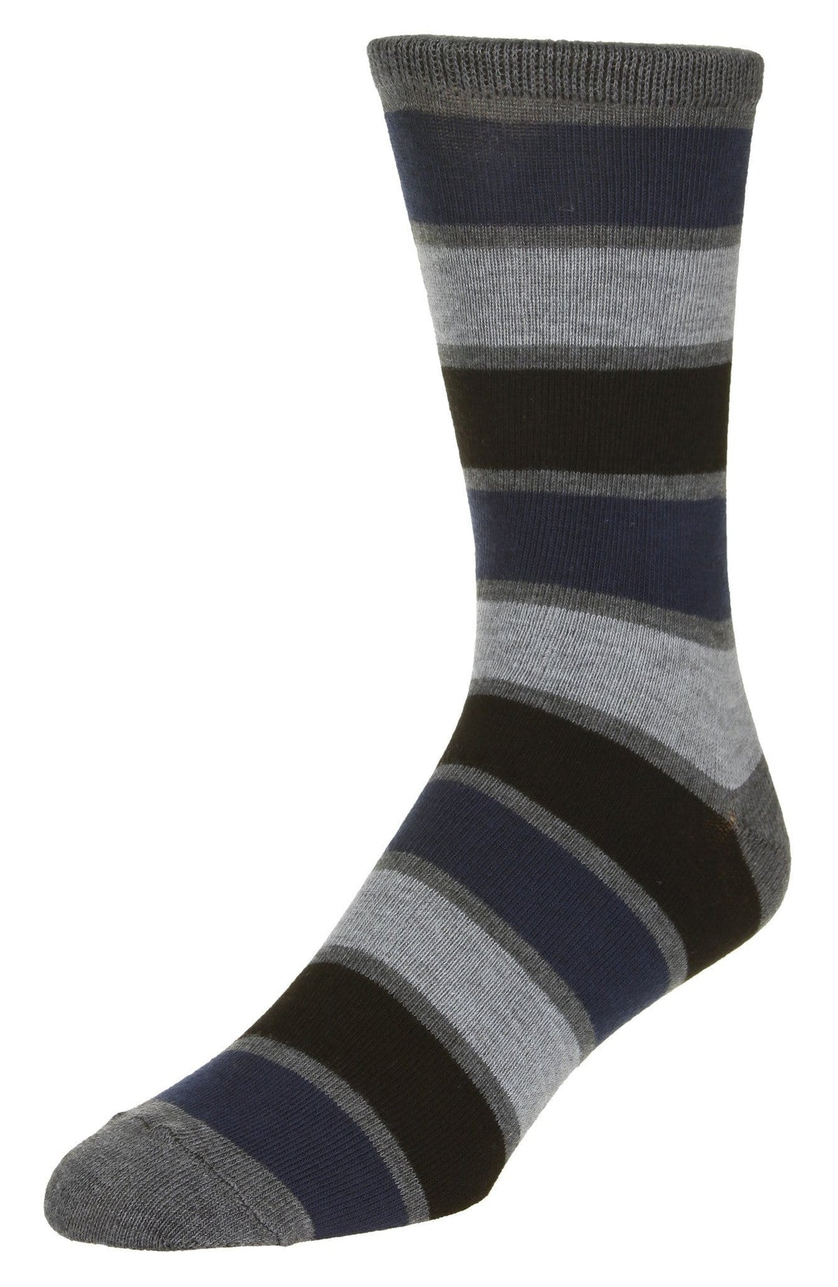Casual Stripe Pattern Socks Men's Crew Sock Black-Navy-Grey