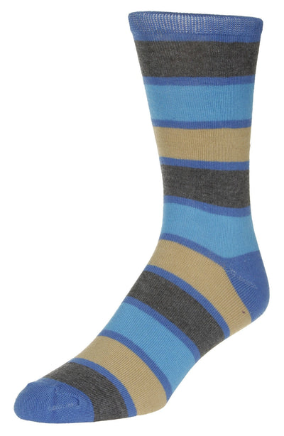 Casual Stripe Pattern Socks Men's Crew Sock Blue-Grey-Tan