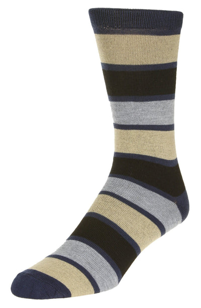 Casual Stripe Pattern Socks Men's Crew Sock Navy-Tan-Grey-Black