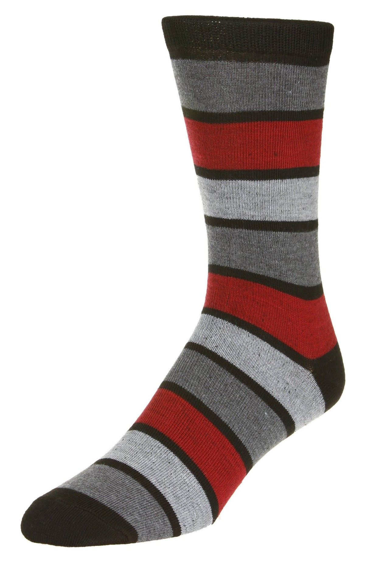 Casual Stripe Pattern Socks Men's Crew Sock Black-Grey-Red
