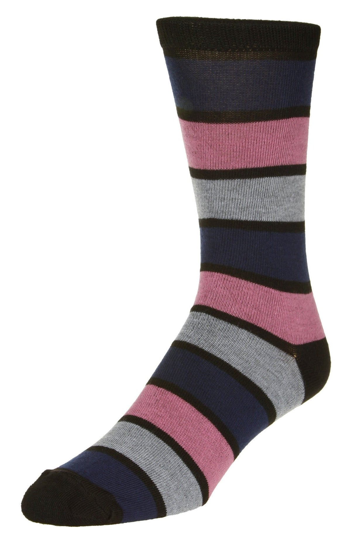 Casual Stripe Pattern Socks Men's Crew Sock Black-Pink-Navy