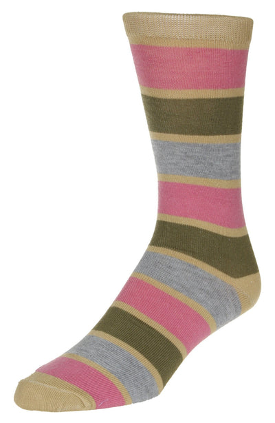 Casual Stripe Pattern Socks Men's Crew Sock Tan-Pink-Grey