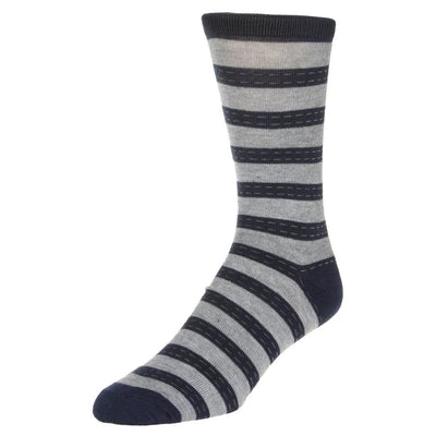Striped Dress Socks Men's Crew Sock Grey with Blue Stripes