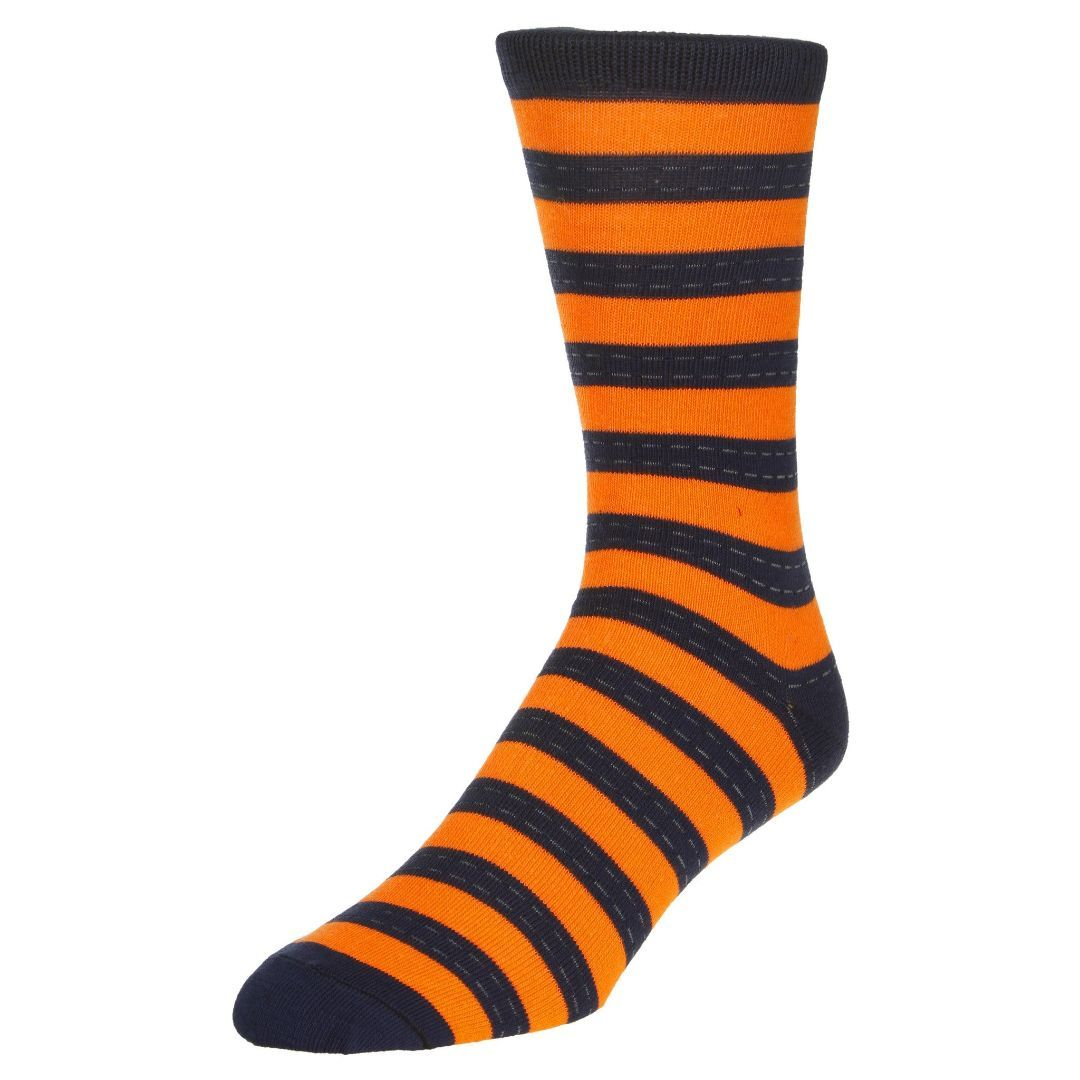 Striped Dress Socks Men's Crew Sock Orange with blue stripes