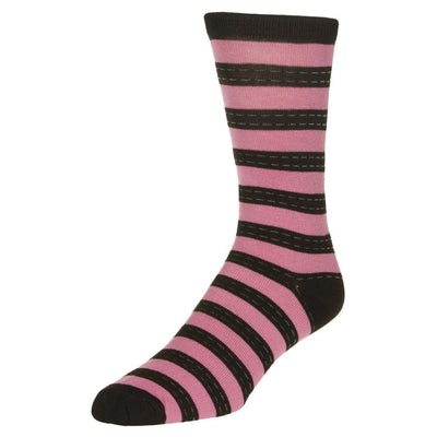 Striped Dress Socks Men's Crew Sock Pink with black stripes