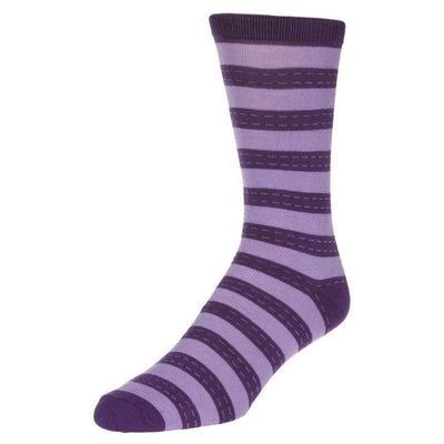 Striped Dress Socks Men's Crew Sock Purple with lilac stripes