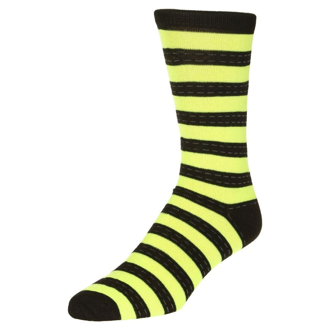Striped Dress Socks Men's Crew Sock Green with black stripes